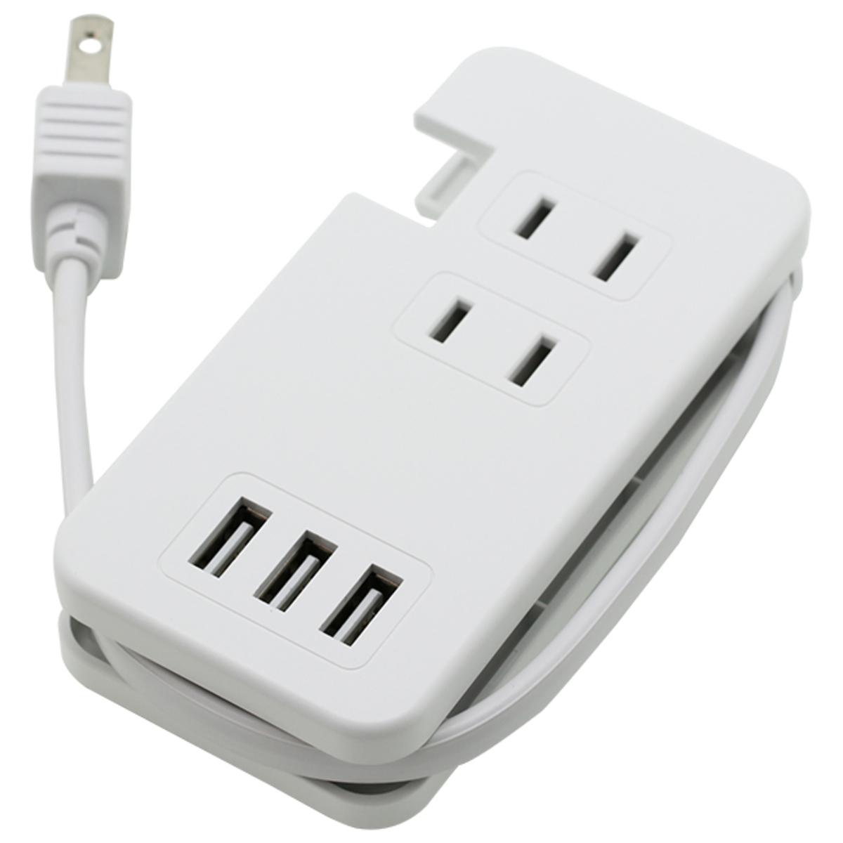 USBポート付きモバイルタップType-A×3/AC×3